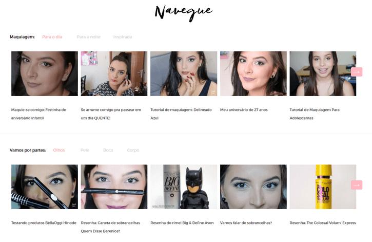 Tags e categorias divididas em Maquiagem para o dia e para a noite