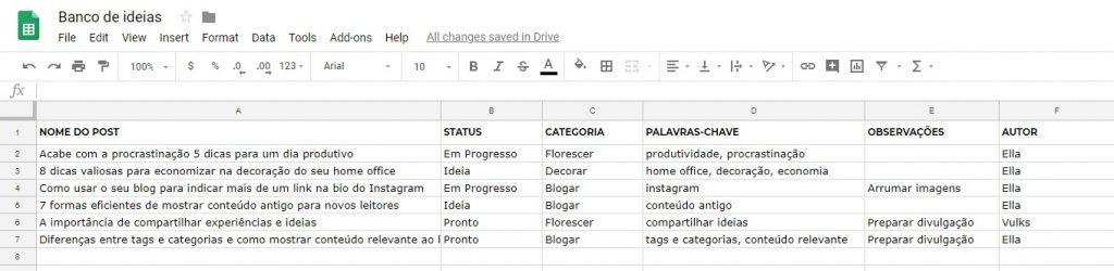 Como criar um banco de ideias com a Planilhas Google