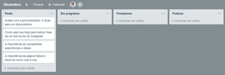 Como planejar os posts do blog com o Trello