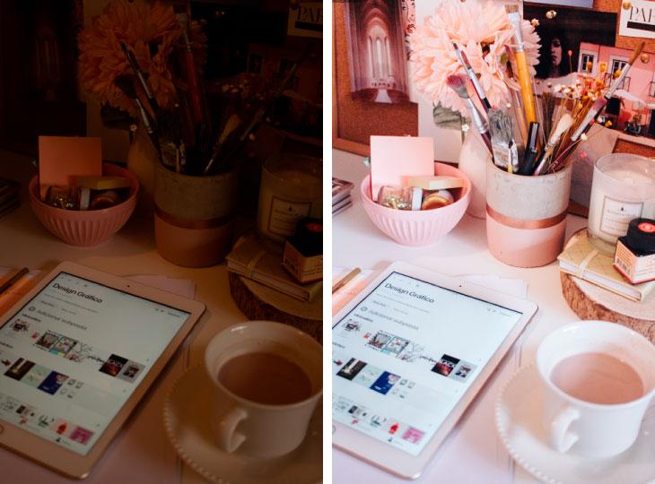 Antes e depois de uma foto editada no Lightroom