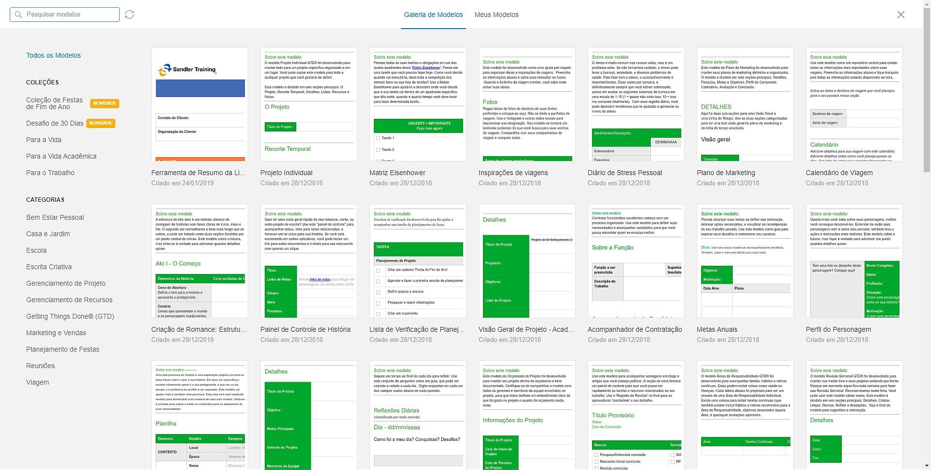Galeria de templates do Evernote