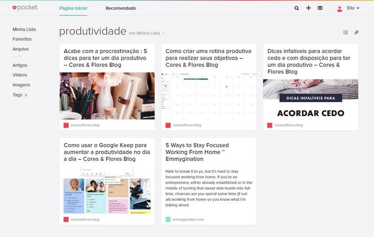 App para organização e produtividade: Pocket